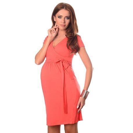 robe-grossesse-et-allaitement-ceinture-nouée-corail-profil