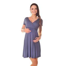 Robe grossesse et allaitement cache coeur manches courtes - Bleu gris