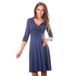 Robe grossesse et allaitement cache coeur - Bleue jean
