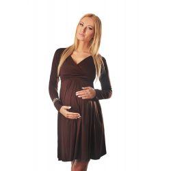Robe grossesse et allaitement cache coeur manches longues - Marron