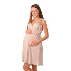 Robe-été-grossesse-et-allaitement-beige-profil