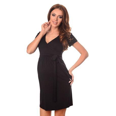 robe-grossesse-et-allaitement-ceinture-nouée-noire-profil