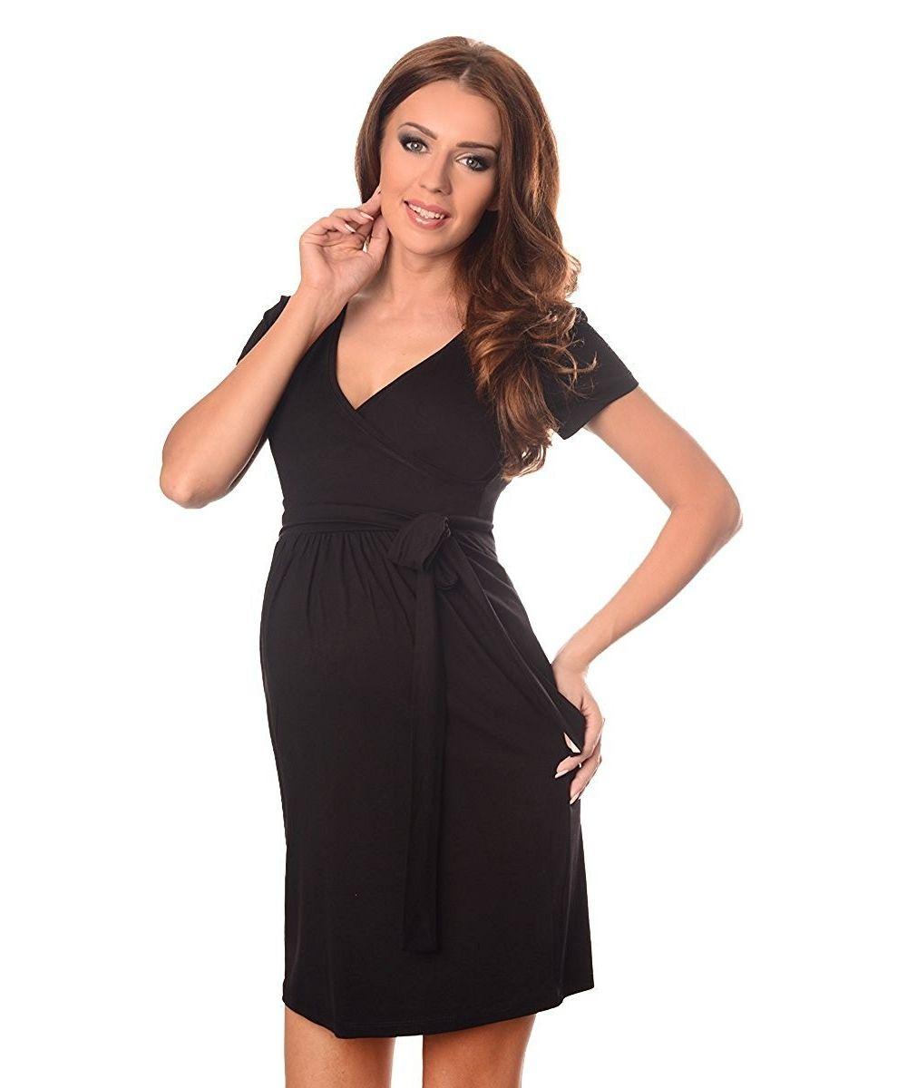 robe-grossesse-et-allaitement-ceinture-nouée-noire-profil. Loading zoom 56ea0707b5a
