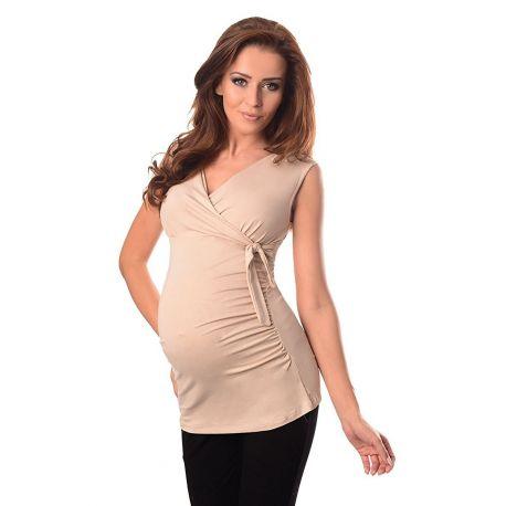 Top-de-grossesse-noué-sans manches-beige-profil