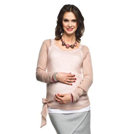 Pull-grossesse-laine-Mohair-noué-rose
