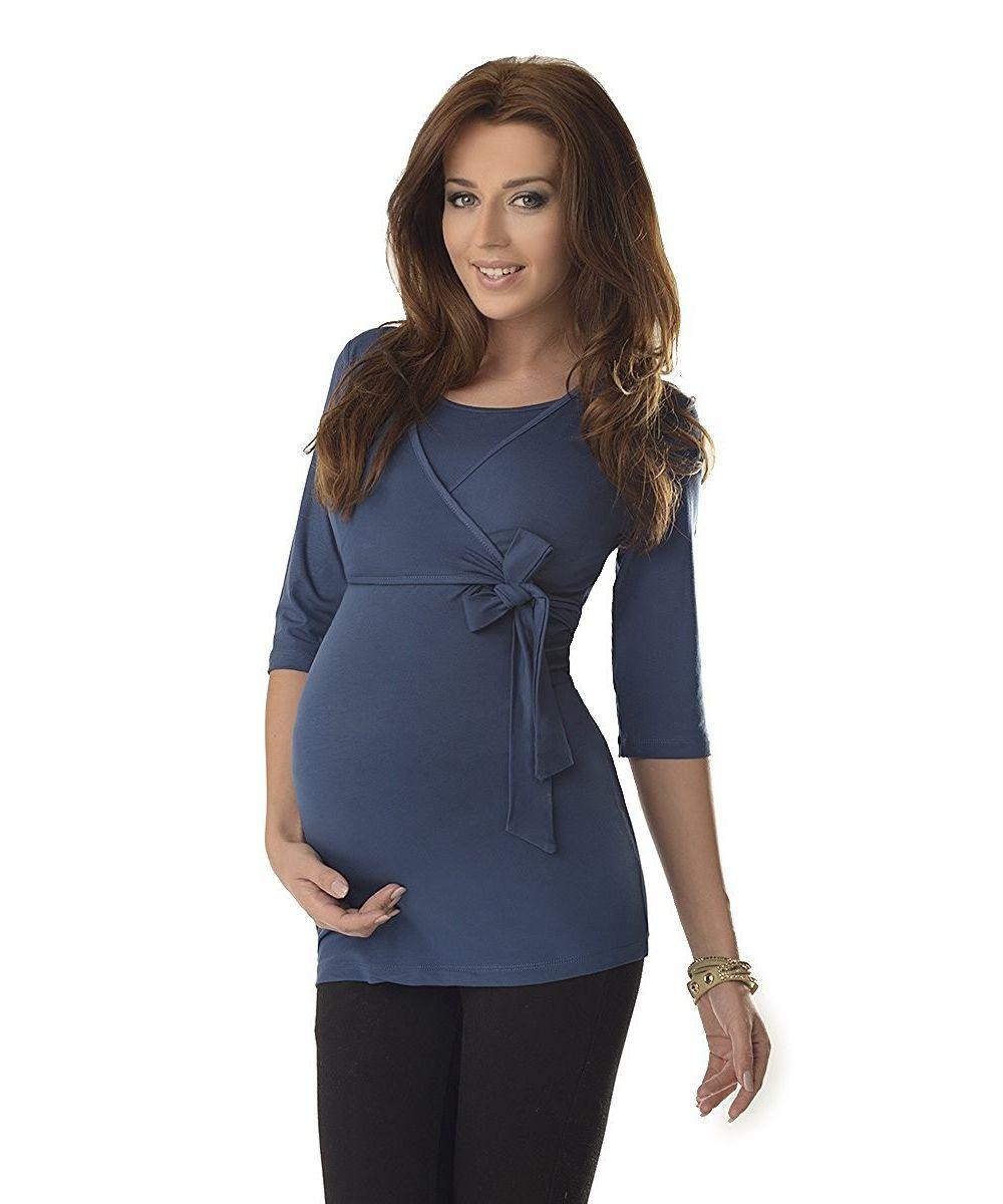 Top-grossesse-et-allaitement-ceinture-nouée-bleu-profil. Loading zoom 176a1eafd42