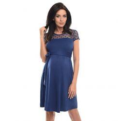 Robe de grossesse épaules dentelle - Bleue jean