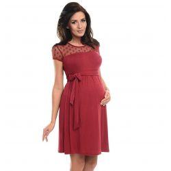 Robe de grossesse épaules dentelle - Rouge