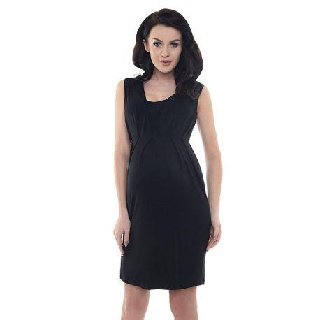 Robe-de-grossesse-sans-manches-noire