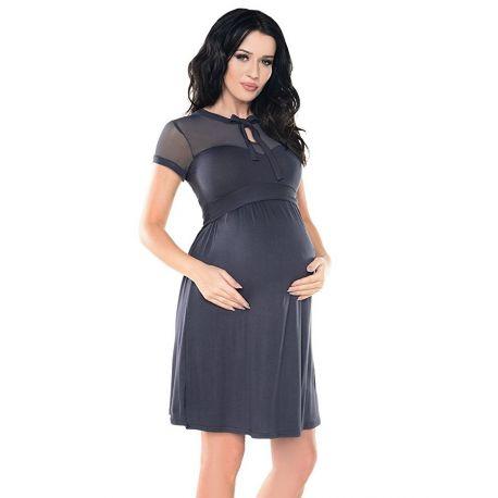 Robe-grossesse-chic-dentelle-et-noeud-grise