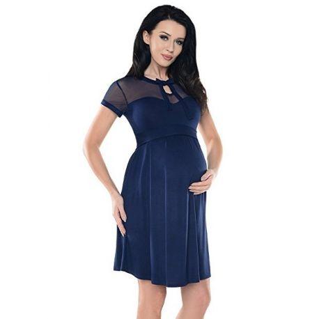 Robe-grossesse-chic-dentelle-et-noeud-bleu-marine-profil