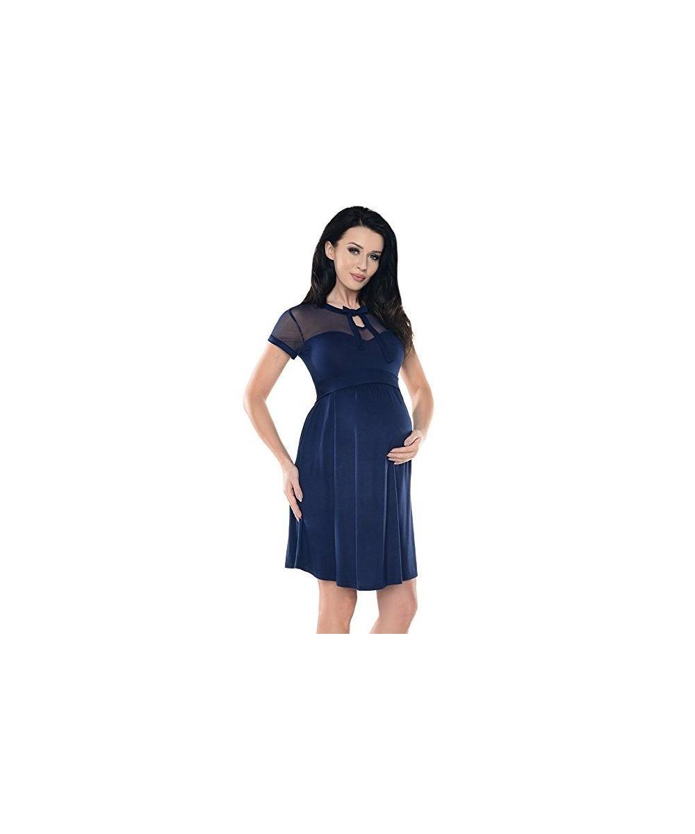 6a5c6c9482b Robe-grossesse-chic-dentelle-et-noeud-bleu-marine-. Loading zoom