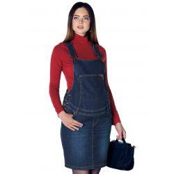 Salopette jupe de grossesse en jean - Bleue foncée