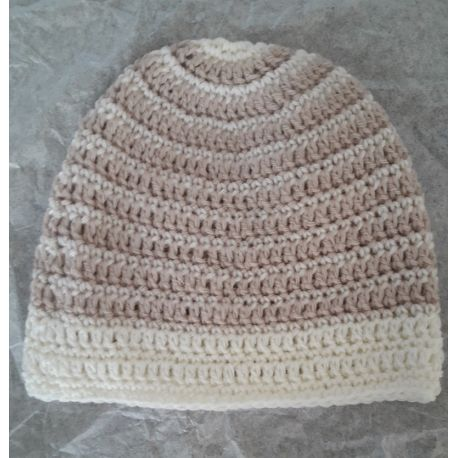 Bonnet de naissance en laine rayé bord écru