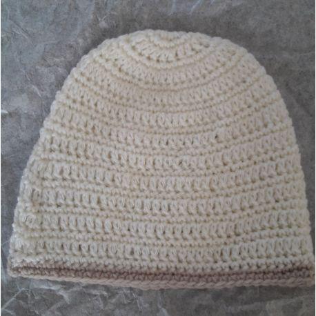 Bonnet de naissance en laine écru liseré taupe