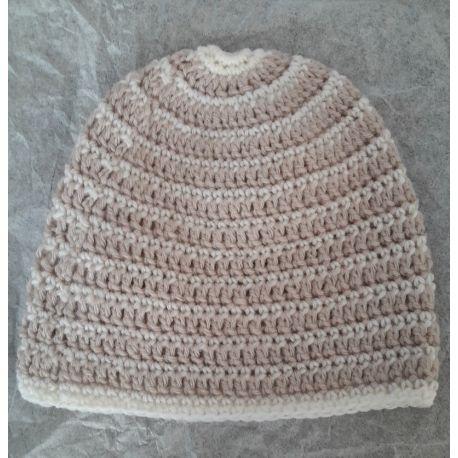 Bonnet de naissance en laine rayé liseré écru