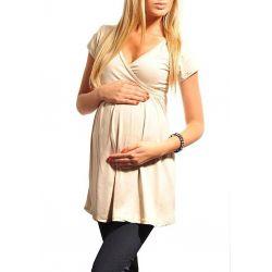Tunique grossesse et allaitement col V - Beige