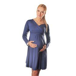 Robe grossesse et allaitement cache coeur manches longues - Bleue