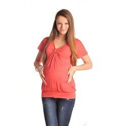 T-shirt de grossesse noeud poitrine - Corail