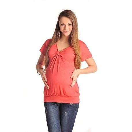 Top-de-grossesse-noeud-poitrine-corail-profil