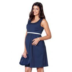 Robe de grossesse évasée sans manches - Bleue marine