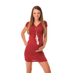 Robe de grossesse et allaitement col V - Rouge