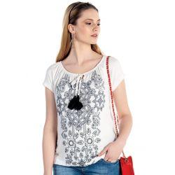 T-shirt de grossesse style éthnic - Blanc